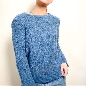 Zara Knit Chunky Blue Sweater Medium With Tie